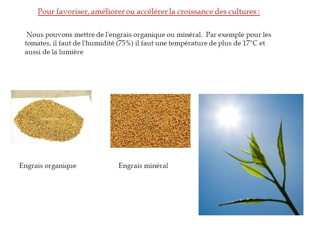 Pour favoriser, améliorer ou accélérer la croissance des cultures : Nous pouvons mettre de l engrais organique ou minéral.