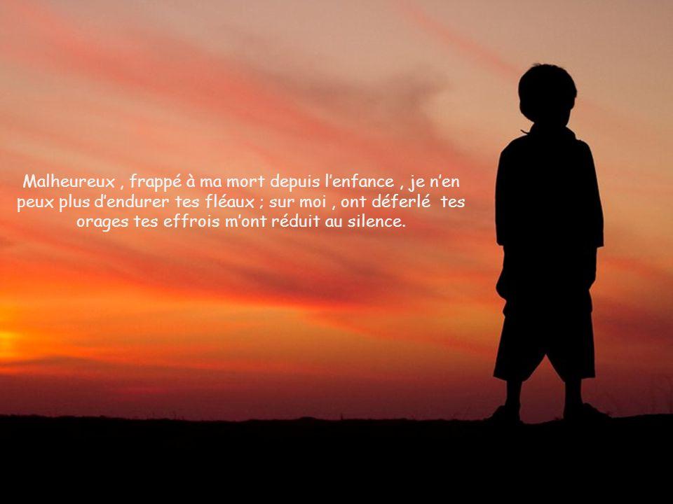 Moi, je crie vers toi, Seigneur ; dès le matin, ma prière te cherche : pourquoi me rejeter, Seigneur, pourquoi me cacher ta face ?