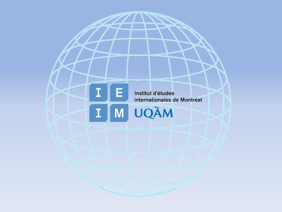 LInstitut détudes internationales de Montréal cest … Une force au Québec dans les domaines de la diffusion du savoir, de la recherche et de la formation en études internationales.