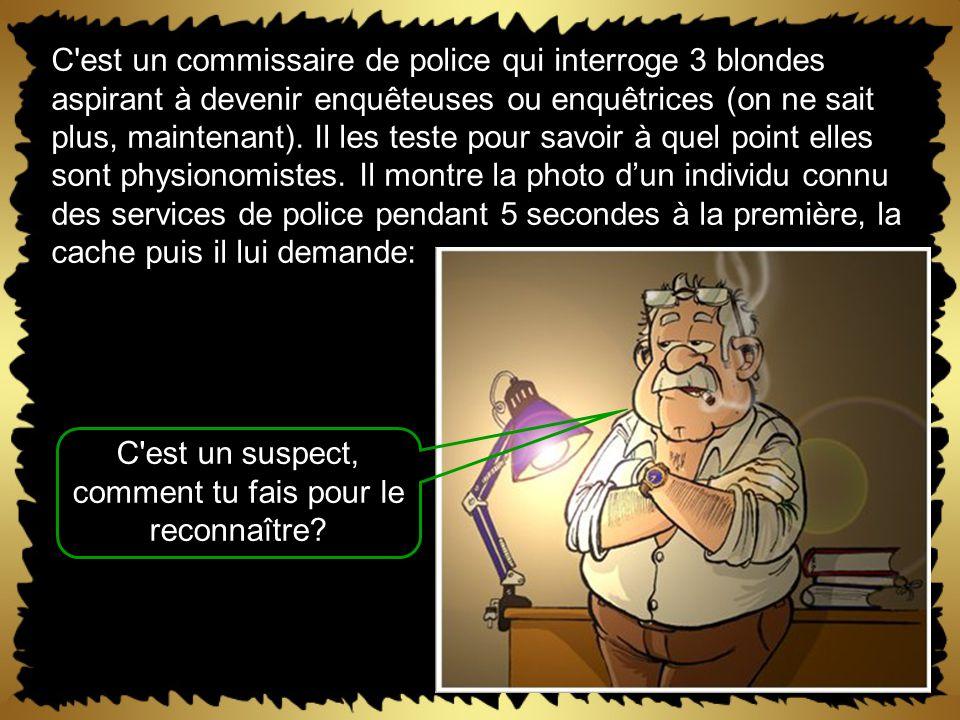 C est un commissaire de police qui interroge 3 blondes aspirant à devenir enquêteuses ou enquêtrices (on ne sait plus, maintenant).