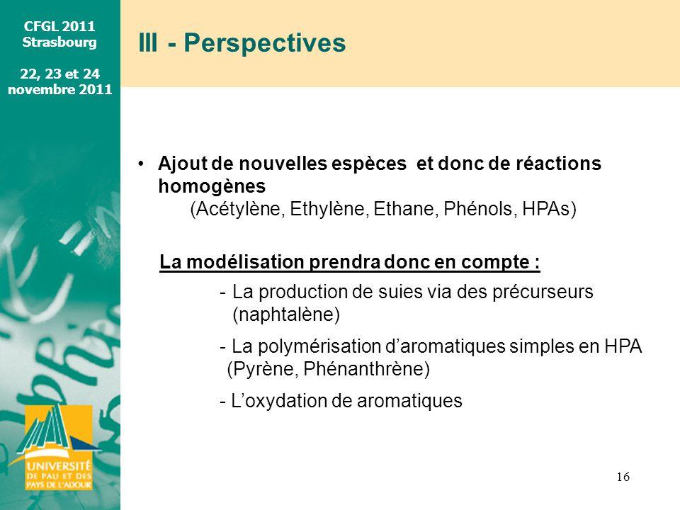 CFGL 2011 Strasbourg 22, 23 et 24 novembre 2011 III - Perspectives 16 Ajout de nouvelles espèces et donc de réactions homogènes (Acétylène, Ethylène,