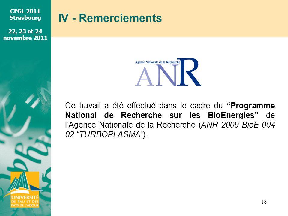 CFGL 2011 Strasbourg 22, 23 et 24 novembre 2011 IV - Remerciements 18 Ce travail a été effectué dans le cadre du Programme National de Recherche sur l