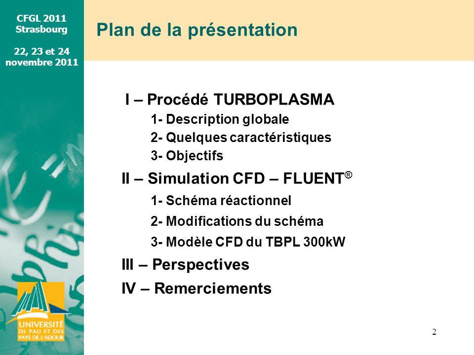 CFGL 2011 Strasbourg 22, 23 et 24 novembre 2011 Plan de la présentation 2 I – Procédé TURBOPLASMA II – Simulation CFD – FLUENT ® III – Perspectives IV
