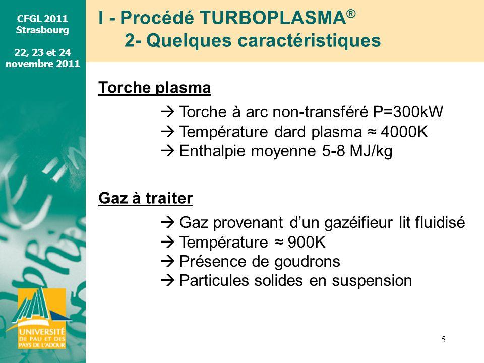 CFGL 2011 Strasbourg 22, 23 et 24 novembre 2011 I - Procédé TURBOPLASMA ® 2- Quelques caractéristiques 5 Torche plasma Torche à arc non-transféré P=30
