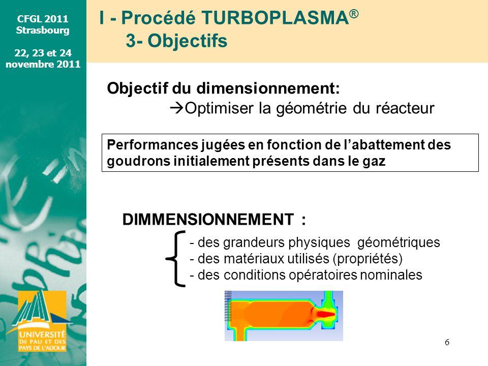 CFGL 2011 Strasbourg 22, 23 et 24 novembre 2011 I - Procédé TURBOPLASMA ® 3- Objectifs 6 Objectif du dimensionnement: Optimiser la géométrie du réacte