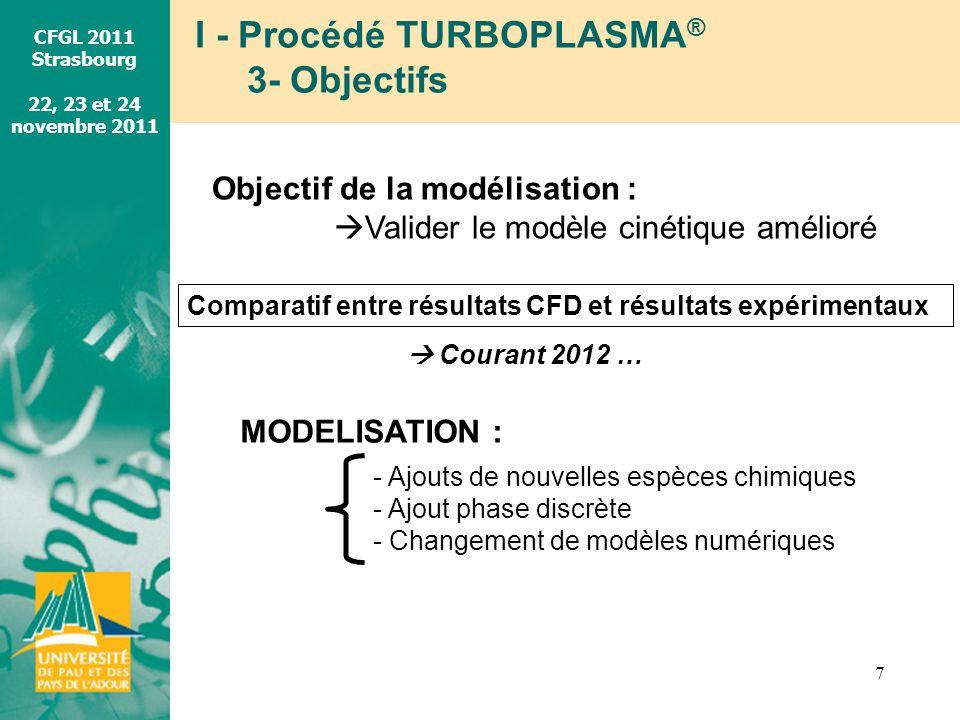 CFGL 2011 Strasbourg 22, 23 et 24 novembre 2011 I - Procédé TURBOPLASMA ® 3- Objectifs 7 Objectif de la modélisation : Valider le modèle cinétique amé