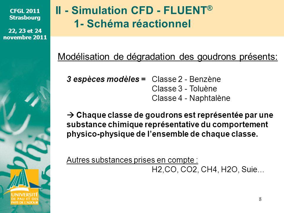 CFGL 2011 Strasbourg 22, 23 et 24 novembre 2011 II - Simulation CFD - FLUENT ® 1- Schéma réactionnel 8 Modélisation de dégradation des goudrons présen