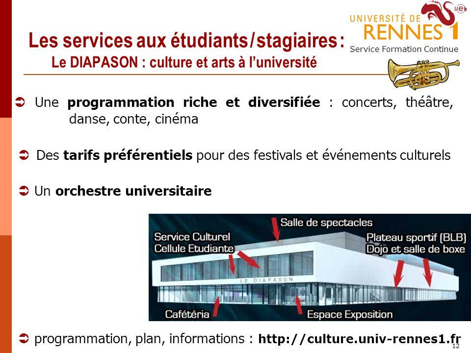 Service Formation Continue 12 Les services aux étudiants / stagiaires : Le DIAPASON : culture et arts à luniversité programmation, plan, informations