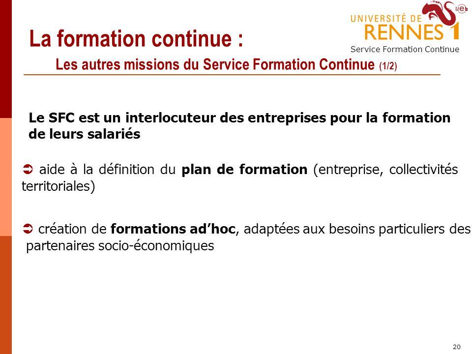 Service Formation Continue 20 La formation continue : Les autres missions du Service Formation Continue (1/2) Le SFC est un interlocuteur des entrepri
