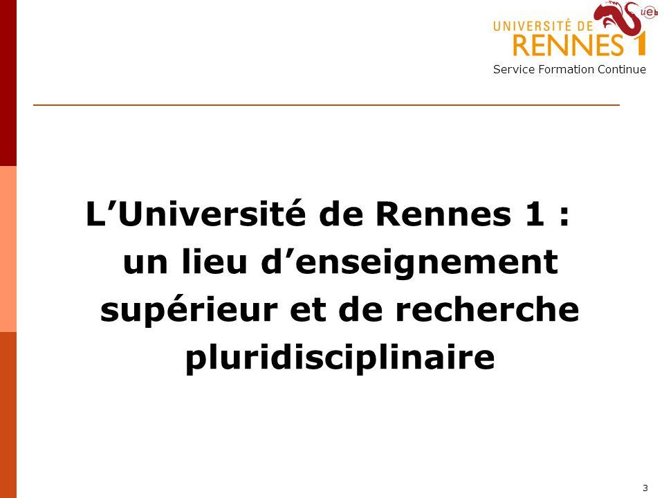 Service Formation Continue 3 LUniversité de Rennes 1 : un lieu denseignement supérieur et de recherche pluridisciplinaire