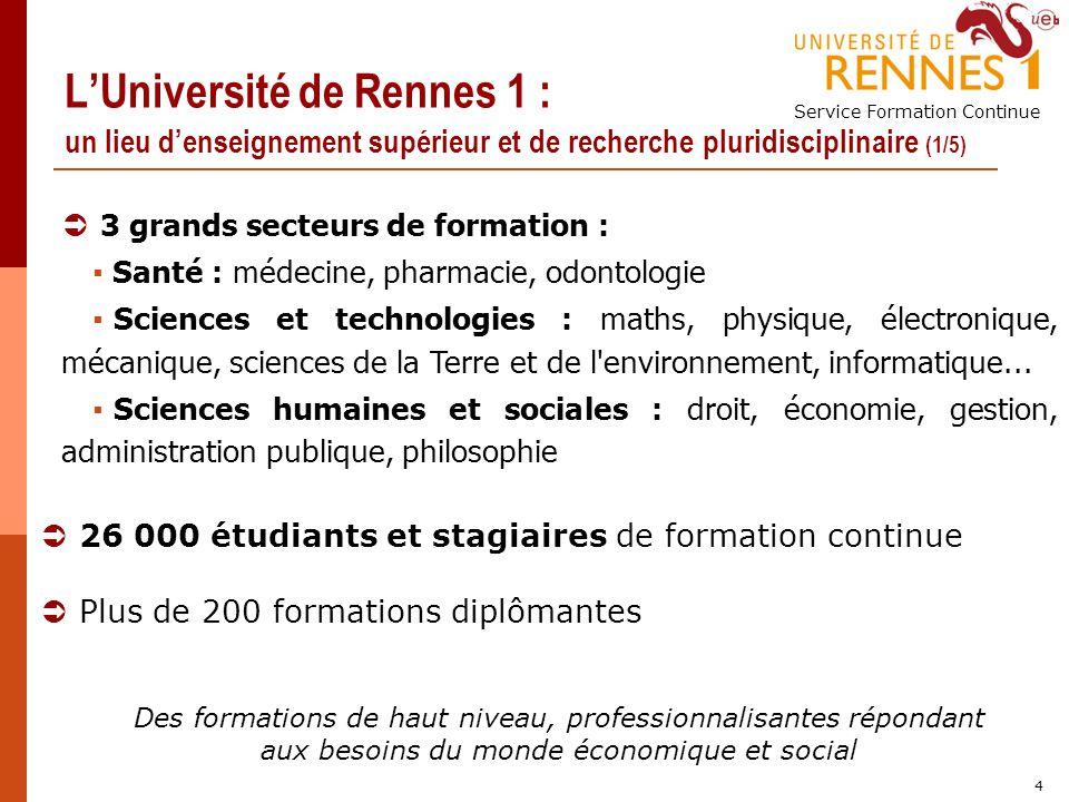 Service Formation Continue 4 LUniversité de Rennes 1 : un lieu denseignement supérieur et de recherche pluridisciplinaire (1/5) 3 grands secteurs de f
