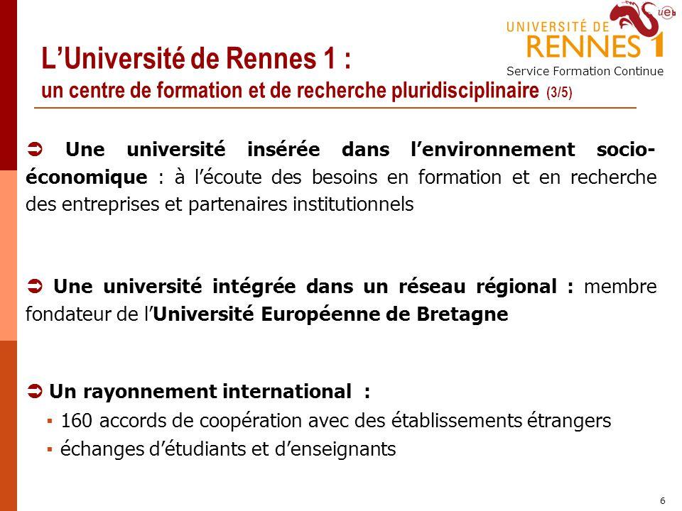 Service Formation Continue 6 LUniversité de Rennes 1 : un centre de formation et de recherche pluridisciplinaire (3/5) Une université intégrée dans un