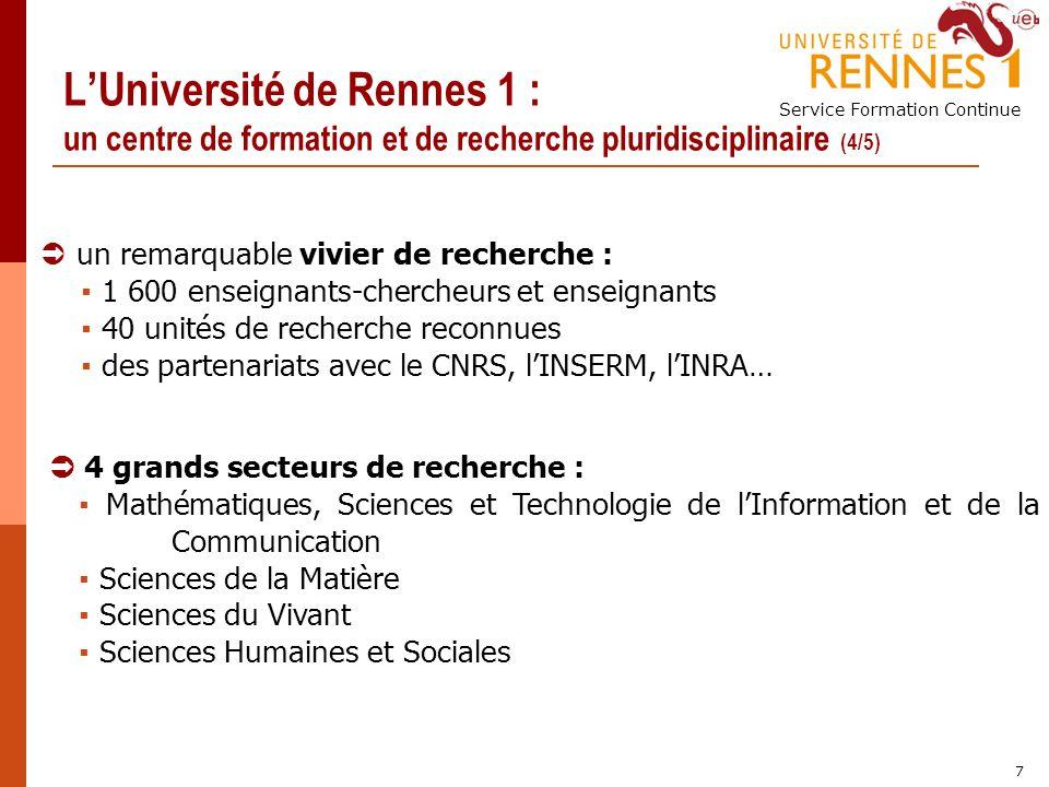 Service Formation Continue 7 LUniversité de Rennes 1 : un centre de formation et de recherche pluridisciplinaire (4/5) un remarquable vivier de recher