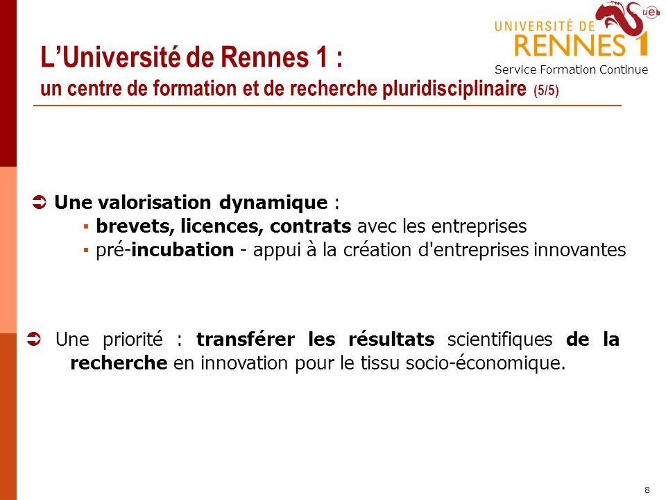 Service Formation Continue 8 LUniversité de Rennes 1 : un centre de formation et de recherche pluridisciplinaire (5/5) Une valorisation dynamique : br