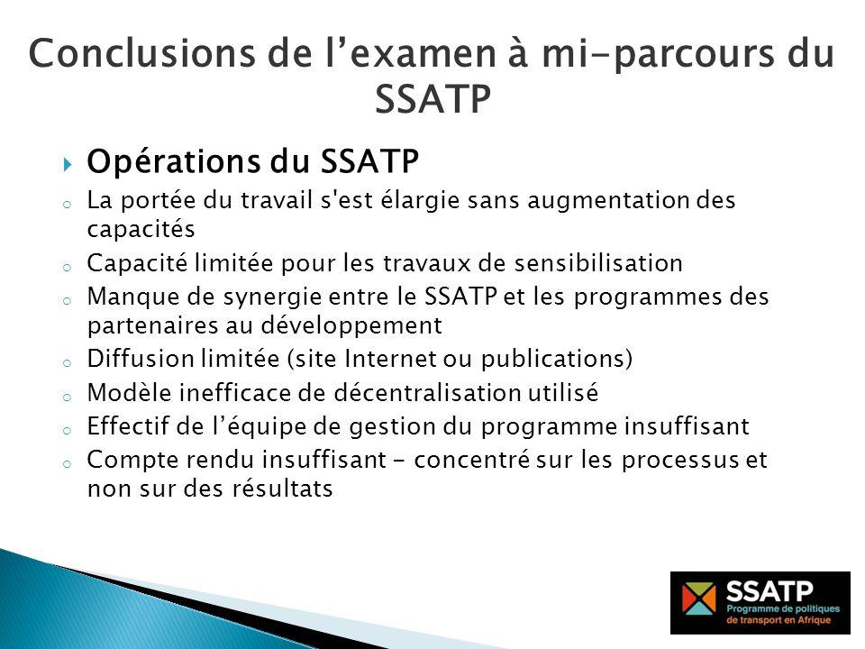 Définir un cadre stratégique réaliste répondant aux besoins et aux ressources disponibles Ajuster lénoncé de mission du SSATP aux besoins émergeant en matière de politiques saines Ancrer le SSATP en Afrique Promouvoir le brassage didées en étendant la portée du SSATP à lAfrique du Nord Recommandations sur la mission du SSATP