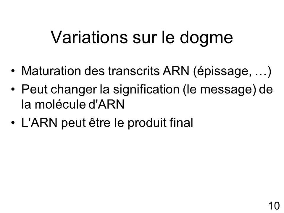 10 Variations sur le dogme Maturation des transcrits ARN (épissage, …) Peut changer la signification (le message) de la molécule d ARN L ARN peut être le produit final
