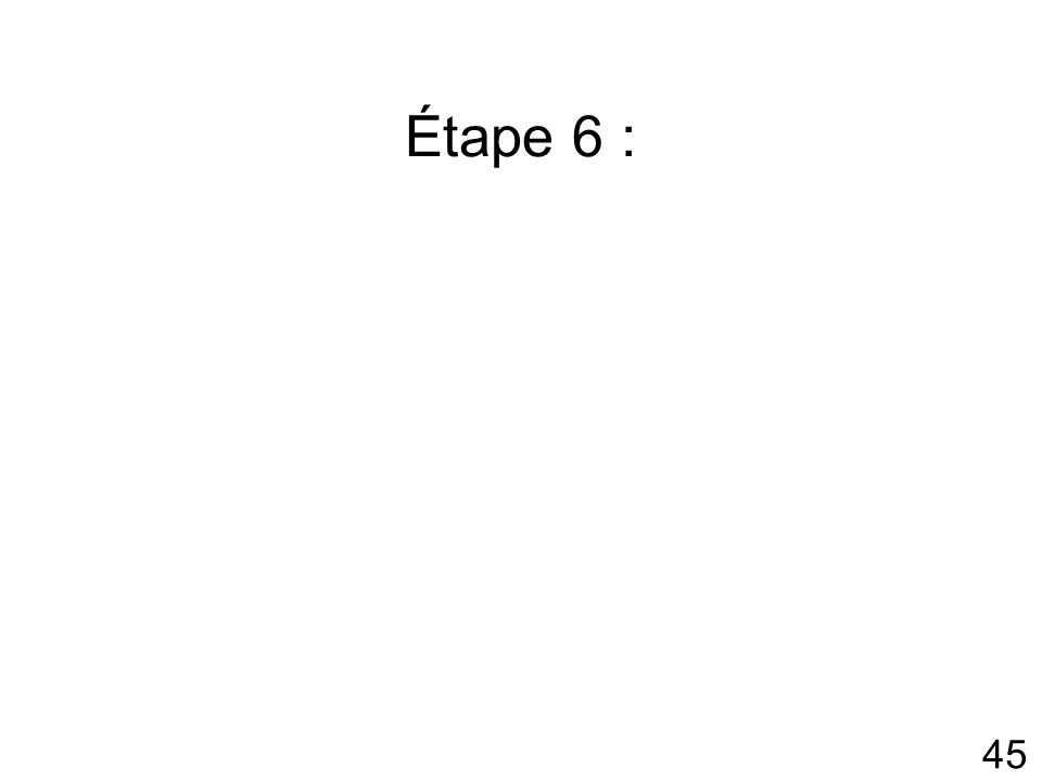 45 Étape 6 :