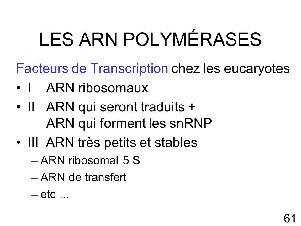 61 LES ARN POLYMÉRASES Facteurs de Transcription chez les eucaryotes IARN ribosomaux IIARN qui seront traduits + ARN qui forment les snRNP III ARN très petits et stables –ARN ribosomal 5 S –ARN de transfert –etc...