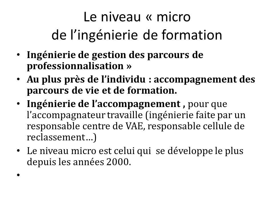 Le niveau « micro de lingénierie de formation Ingénierie de gestion des parcours de professionnalisation » Au plus près de lindividu : accompagnement