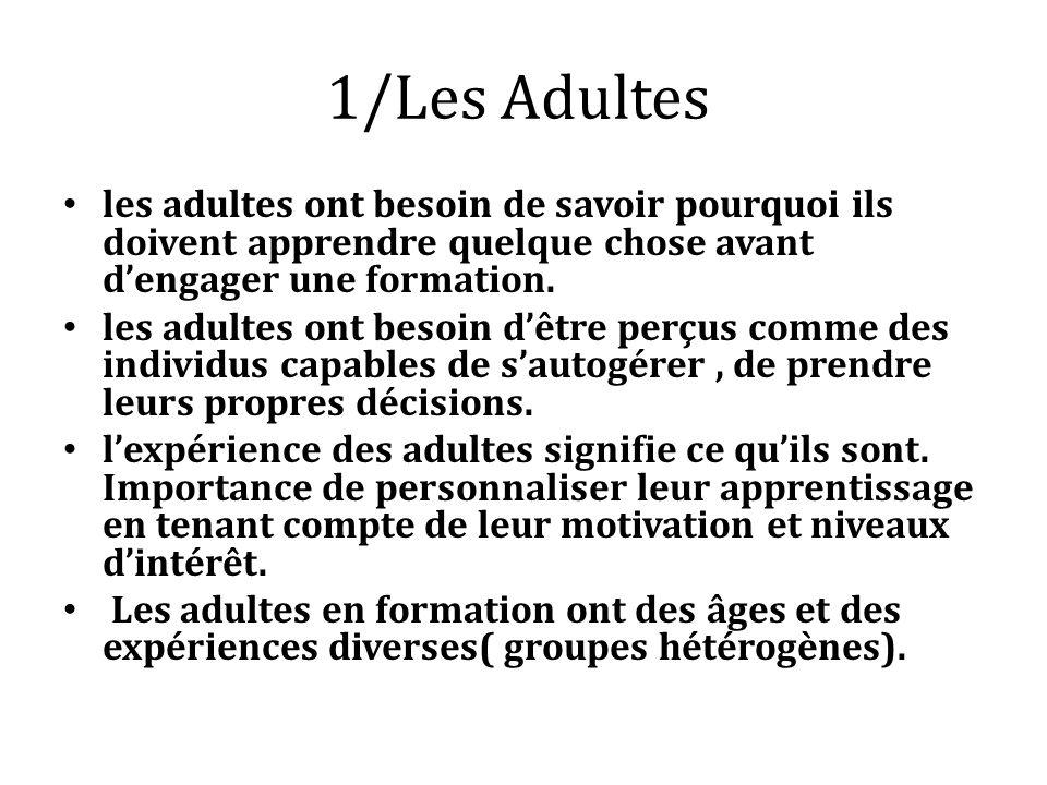 1/Les Adultes les adultes ont besoin de savoir pourquoi ils doivent apprendre quelque chose avant dengager une formation. les adultes ont besoin dêtre