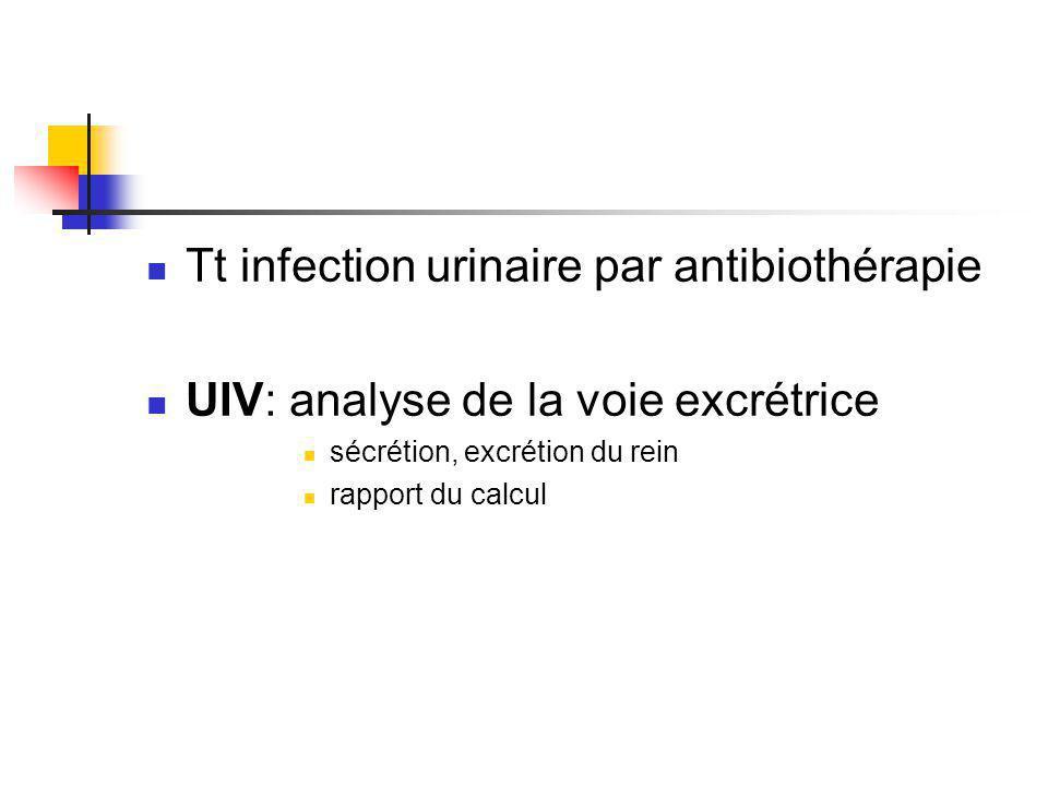 Tt infection urinaire par antibiothérapie UIV: analyse de la voie excrétrice sécrétion, excrétion du rein rapport du calcul