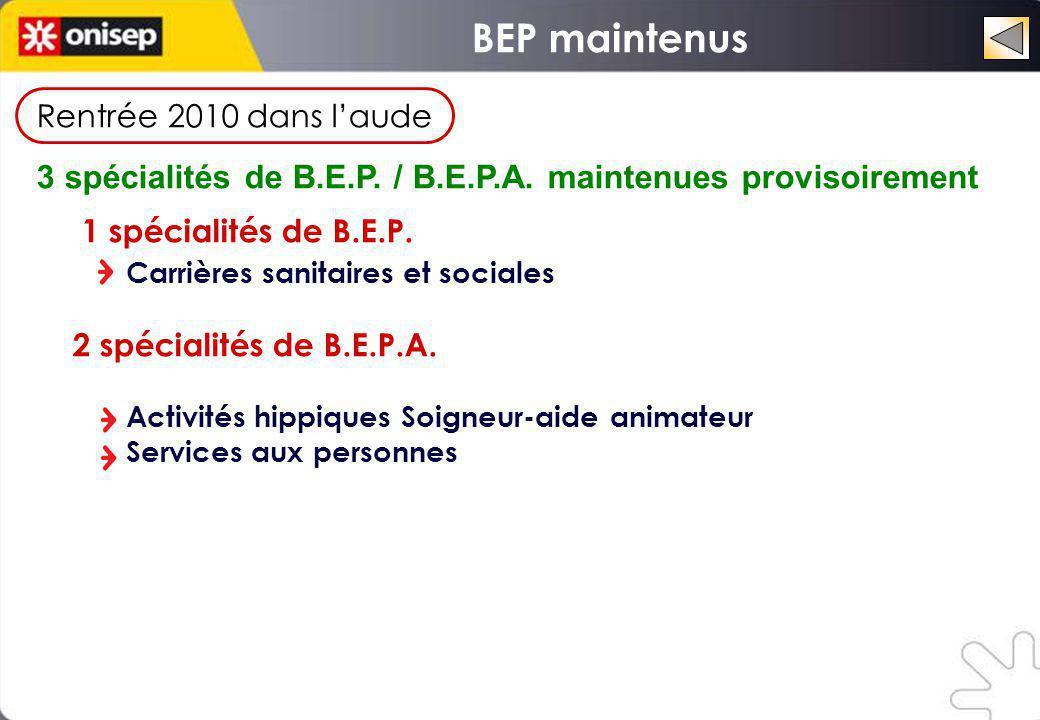 Rentrée 2010 dans laude 3 spécialités de B.E.P. / B.E.P.A. maintenues provisoirement 1 spécialités de B.E.P. Carrières sanitaires et sociales 2 spécia