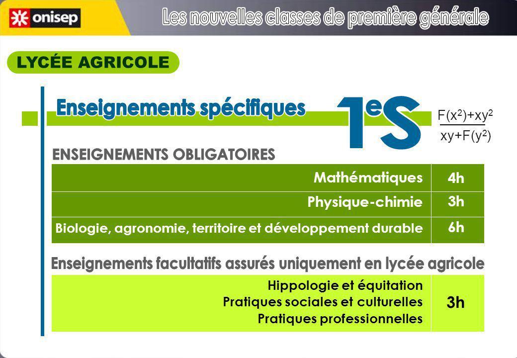 Mathématiques Physique-chimie Biologie, agronomie, territoire et développement durable Hippologie et équitation Pratiques sociales et culturelles Prat