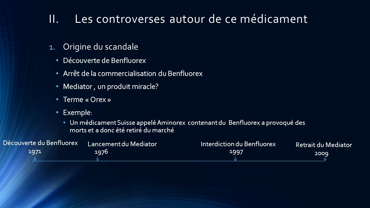 II.Les controverses autour de ce médicament 1.Origine du scandale Découverte de Benfluorex Arrêt de la commercialisation du Benfluorex Mediator, un produit miracle.