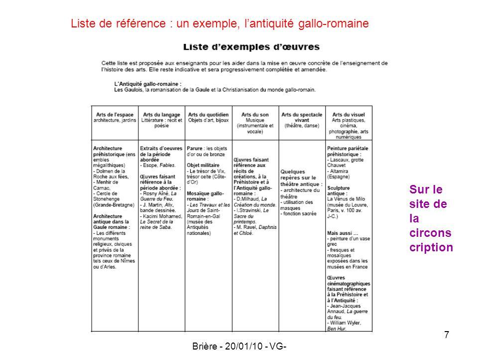 Circonscription Pontchateau Brière - 20/01/10 - VG- 7 Liste de référence : un exemple, lantiquité gallo-romaine Sur le site de la circons cription