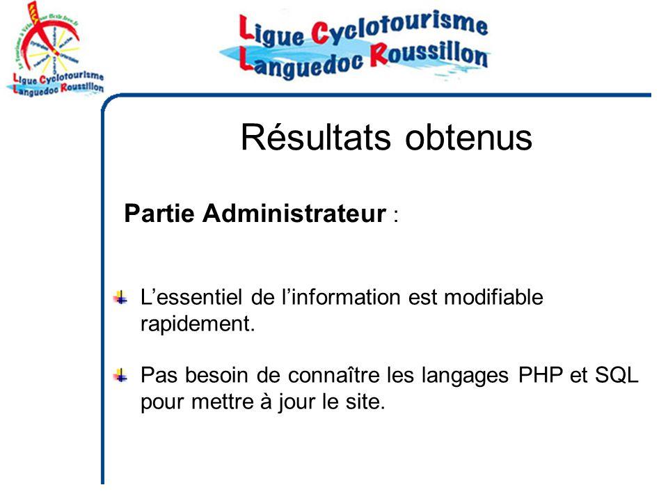 Partie Administrateur : Pas besoin de connaître les langages PHP et SQL pour mettre à jour le site.