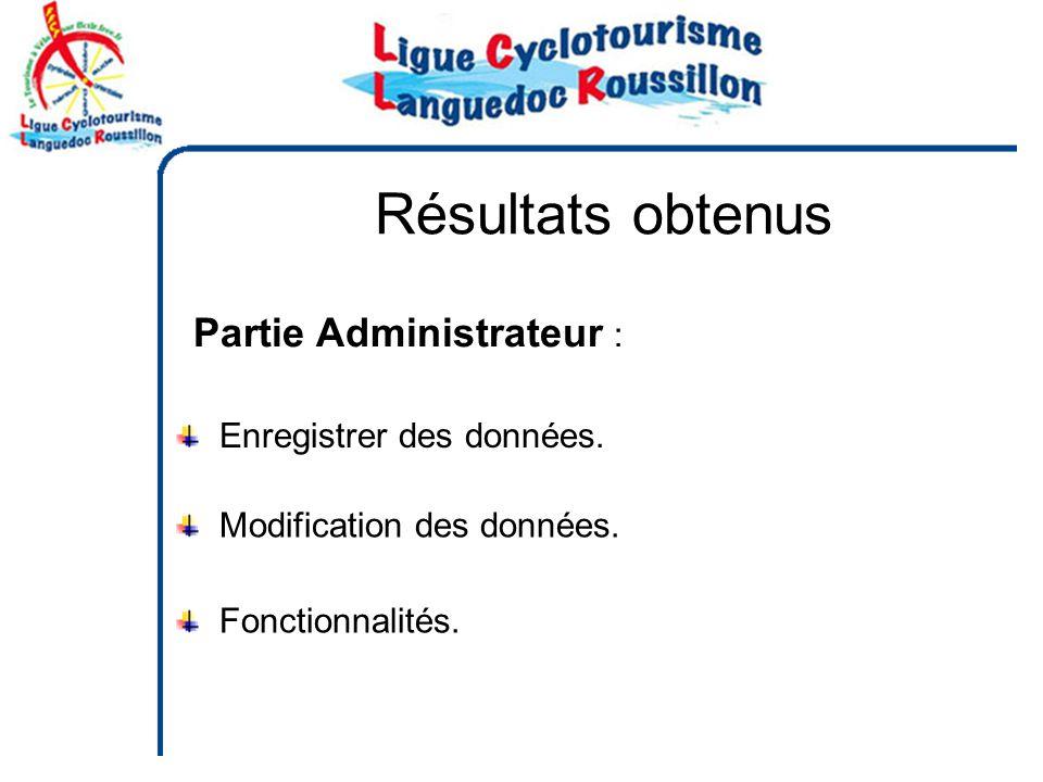 Résultats obtenus Partie Administrateur : Fonctionnalités.