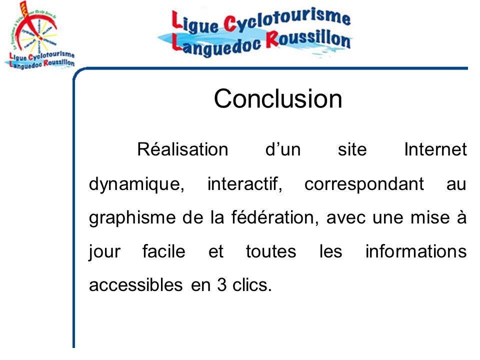 Conclusion Réalisation dun site Internet dynamique, interactif, correspondant au graphisme de la fédération, avec une mise à jour facile et toutes les informations accessibles en 3 clics.