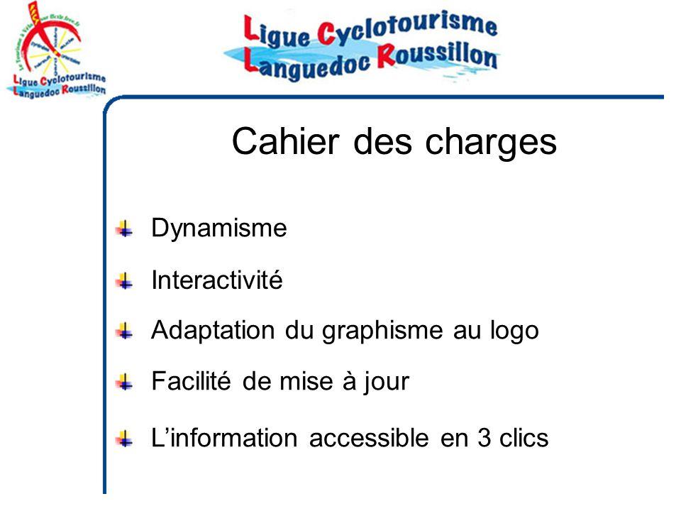 Cahier des charges Dynamisme Linformation accessible en 3 clics Facilité de mise à jour Adaptation du graphisme au logo Interactivité