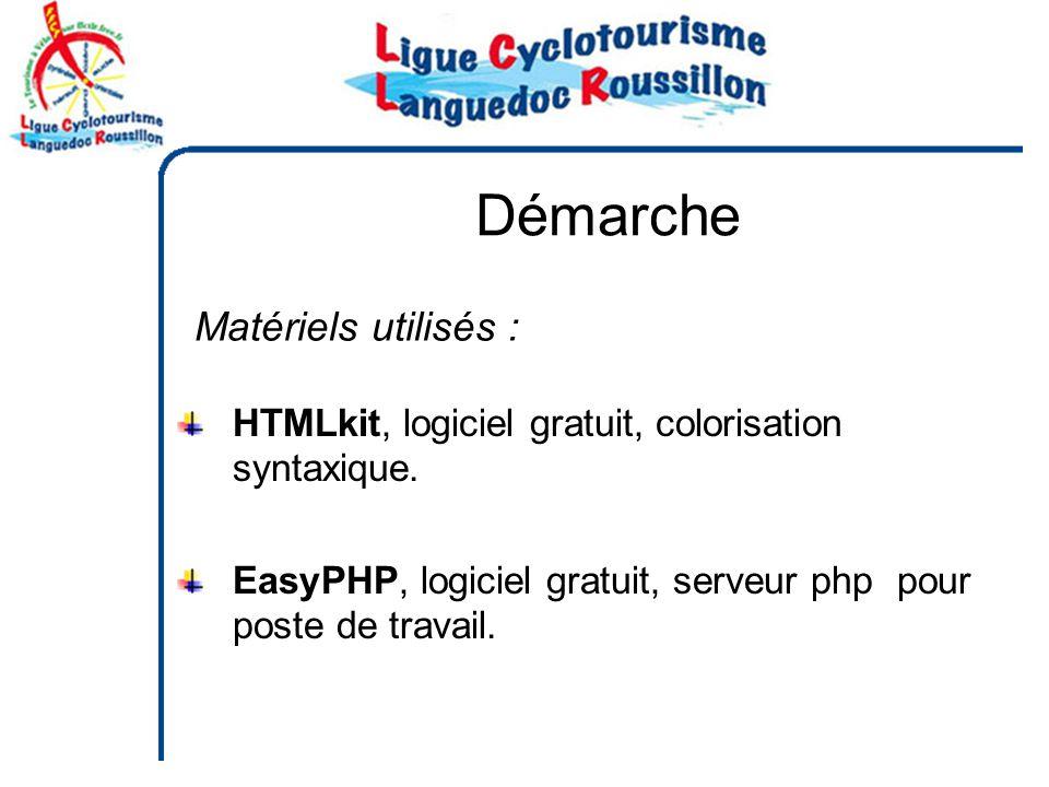 Démarche Matériels utilisés : HTMLkit, logiciel gratuit, colorisation syntaxique.