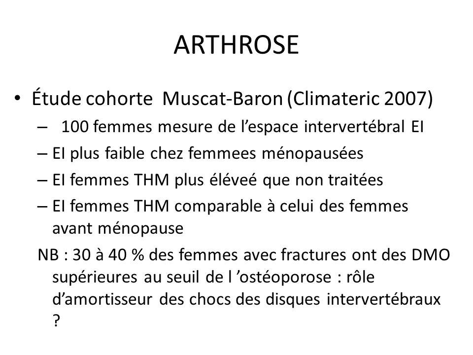 ARTHROSE Étude cohorte Muscat-Baron (Climateric 2007) – 100 femmes mesure de lespace intervertébral EI – EI plus faible chez femmees ménopausées – EI