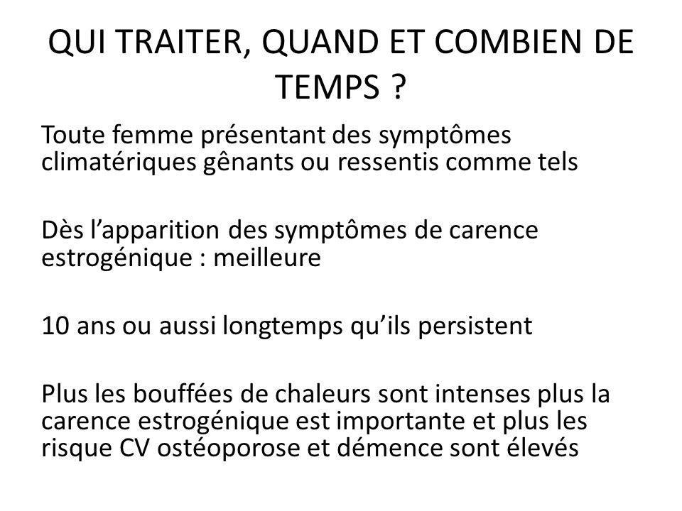 QUI TRAITER, QUAND ET COMBIEN DE TEMPS ? Toute femme présentant des symptômes climatériques gênants ou ressentis comme tels Dès lapparition des symptô