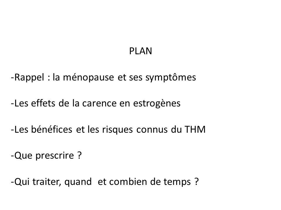 PLAN -Rappel : la ménopause et ses symptômes -Les effets de la carence en estrogènes -Les bénéfices et les risques connus du THM -Que prescrire ? -Qui