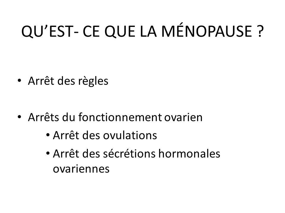 QUEST- CE QUE LA MÉNOPAUSE ? Arrêt des règles Arrêts du fonctionnement ovarien Arrêt des ovulations Arrêt des sécrétions hormonales ovariennes