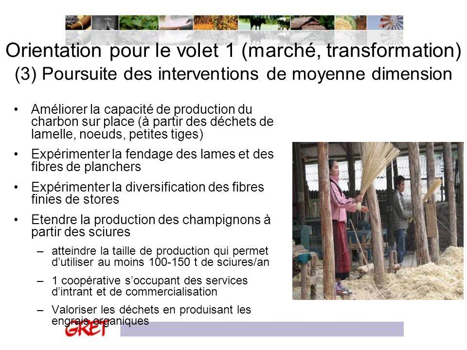 Orientation pour le volet 1 (marché, transformation) (3) Poursuite des interventions de moyenne dimension Améliorer la capacité de production du charb