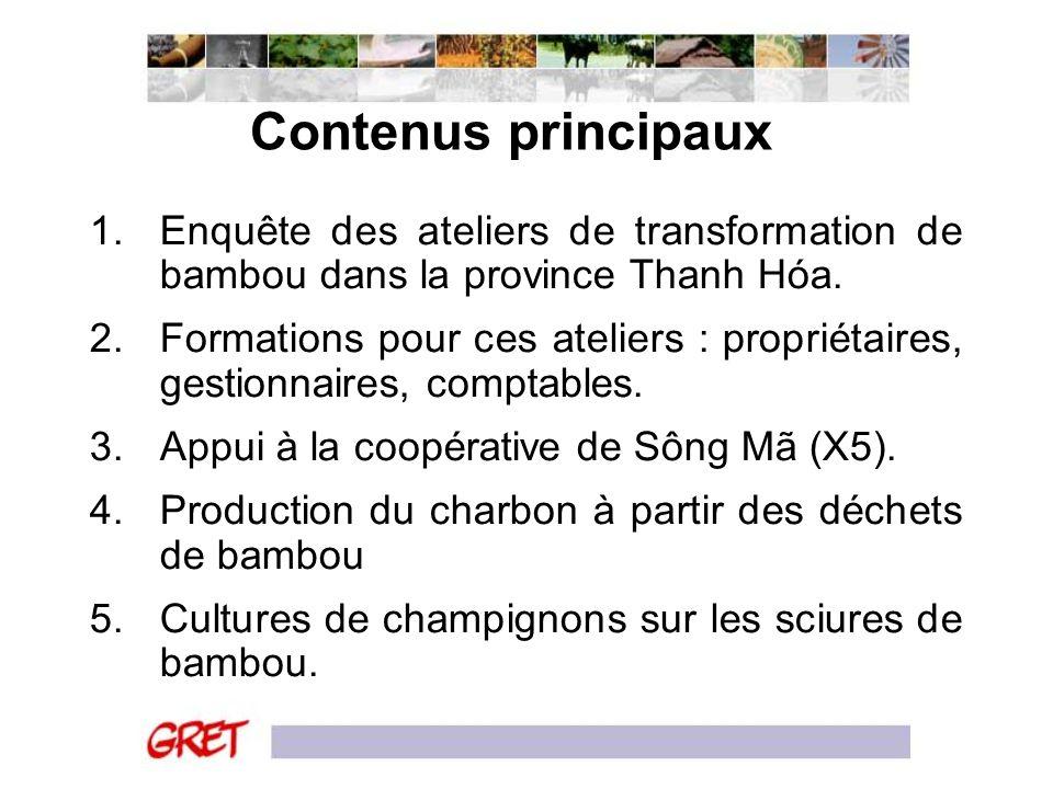 Contenus principaux 1.Enquête des ateliers de transformation de bambou dans la province Thanh Hóa. 2.Formations pour ces ateliers : propriétaires, ges