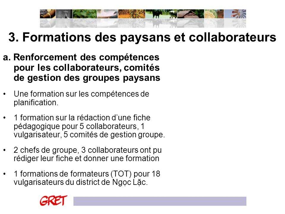 3. Formations des paysans et collaborateurs a. Renforcement des compétences pour les collaborateurs, comités de gestion des groupes paysans Une format