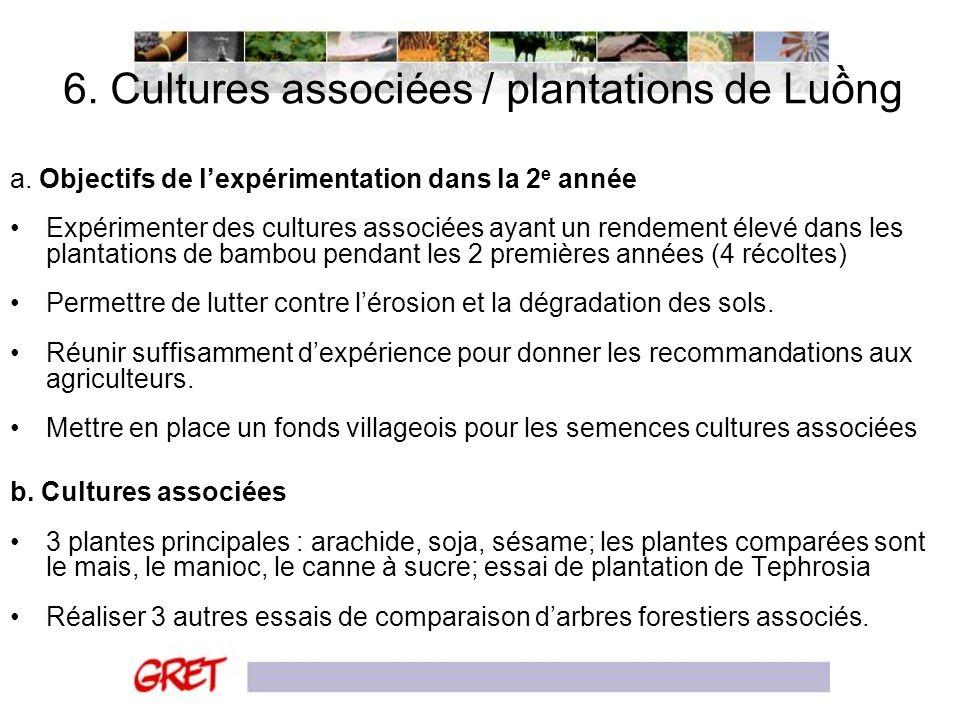 6. Cultures associées / plantations de Lung a. Objectifs de lexpérimentation dans la 2 e année Expérimenter des cultures associées ayant un rendement