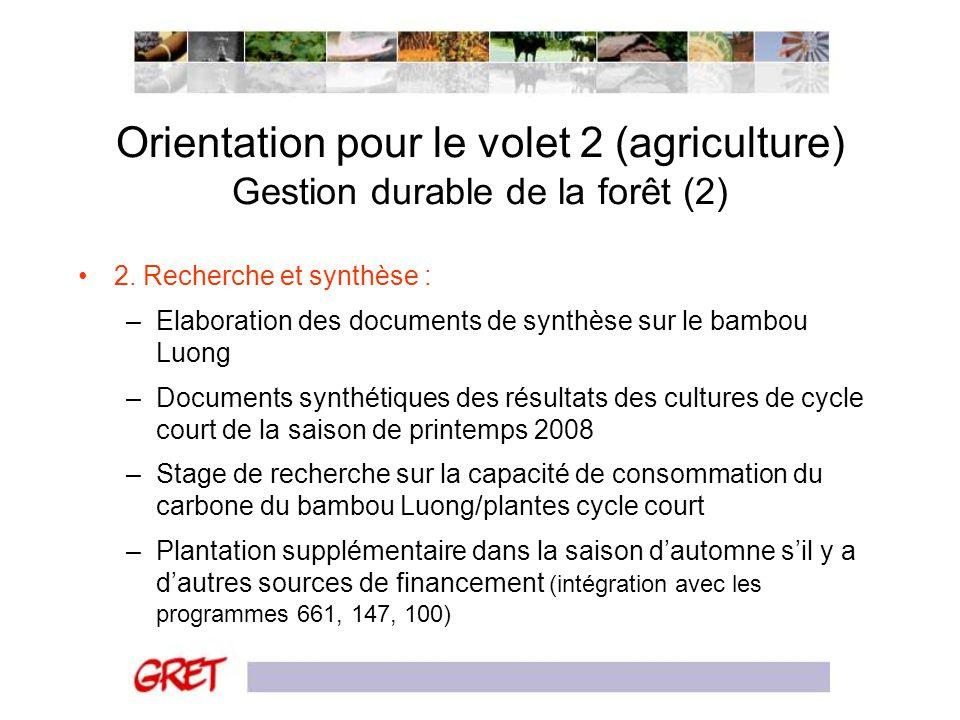 Orientation pour le volet 2 (agriculture) Gestion durable de la forêt (2) 2. Recherche et synthèse : –Elaboration des documents de synthèse sur le bam