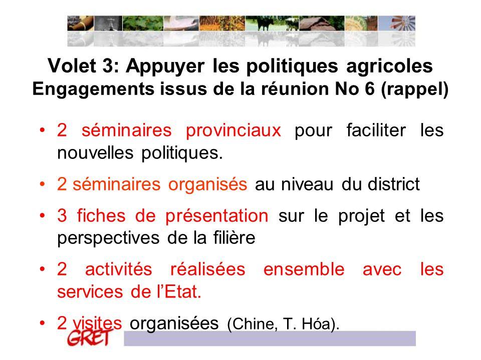 Volet 3: Appuyer les politiques agricoles Engagements issus de la réunion No 6 (rappel) 2 séminaires provinciaux pour faciliter les nouvelles politiqu
