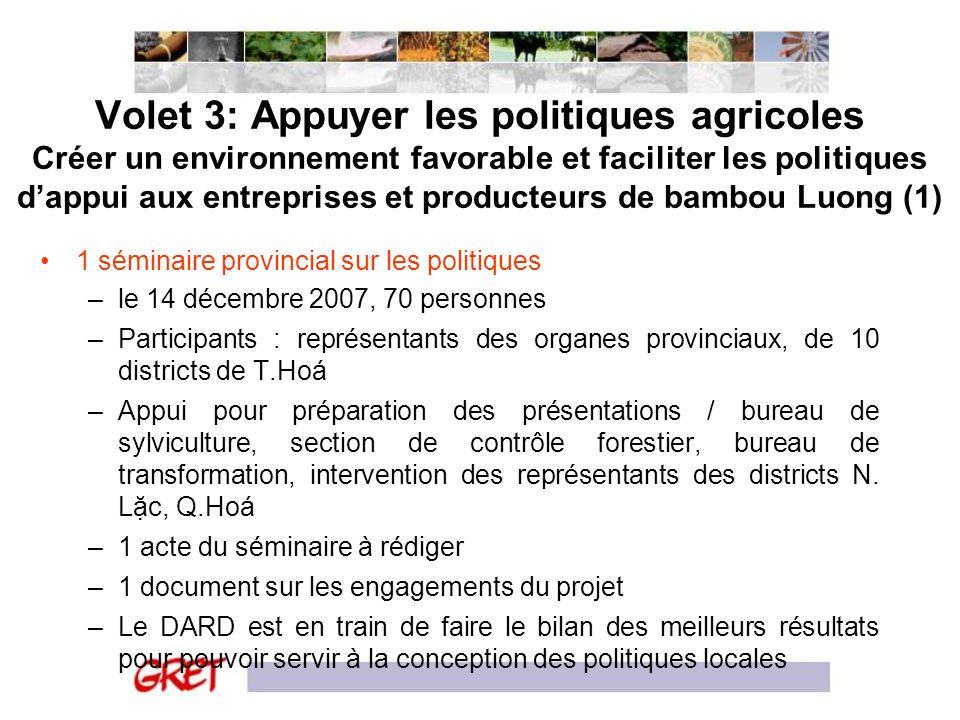 Volet 3: Appuyer les politiques agricoles Créer un environnement favorable et faciliter les politiques dappui aux entreprises et producteurs de bambou