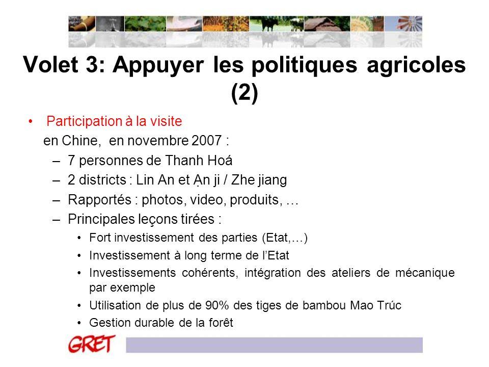 Volet 3: Appuyer les politiques agricoles (2) Participation à la visite en Chine, en novembre 2007 : –7 personnes de Thanh Hoá –2 districts : Lin An e