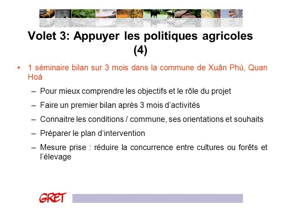 Volet 3: Appuyer les politiques agricoles (4) 1 séminaire bilan sur 3 mois dans la commune de Xuân Phú, Quan Hoá –Pour mieux comprendre les objectifs