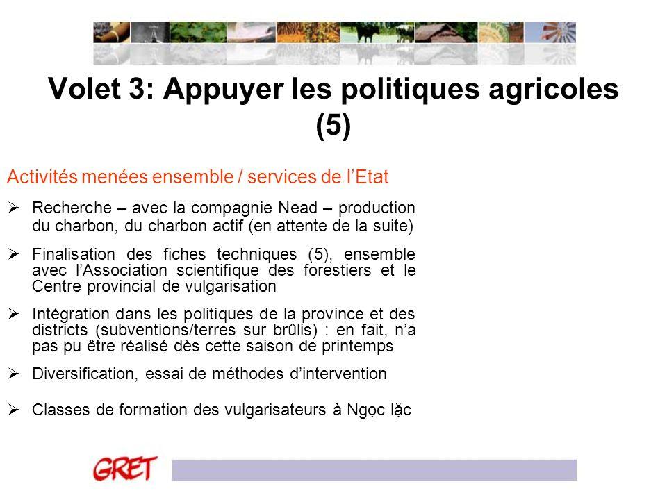 Volet 3: Appuyer les politiques agricoles (5) Activités menées ensemble / services de lEtat Recherche – avec la compagnie Nead – production du charbon