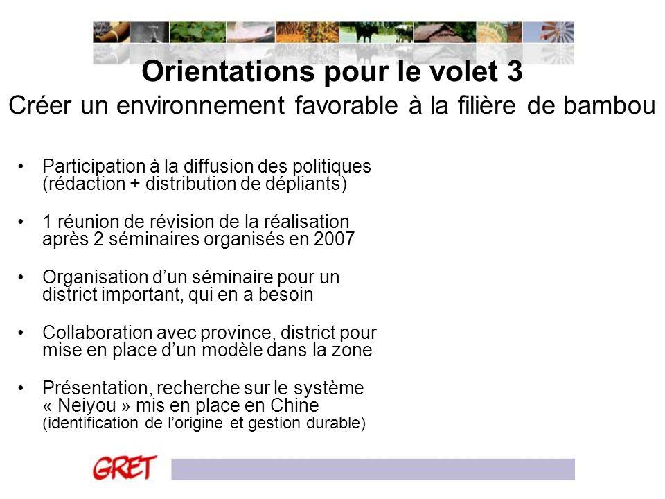 Orientations pour le volet 3 Créer un environnement favorable à la filière de bambou Participation à la diffusion des politiques (rédaction + distribu
