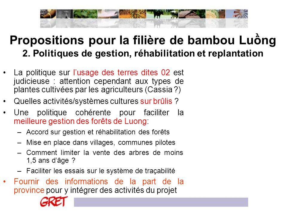 Propositions pour la filière de bambou Lung 2. Politiques de gestion, réhabilitation et replantation La politique sur lusage des terres dites 02 est j